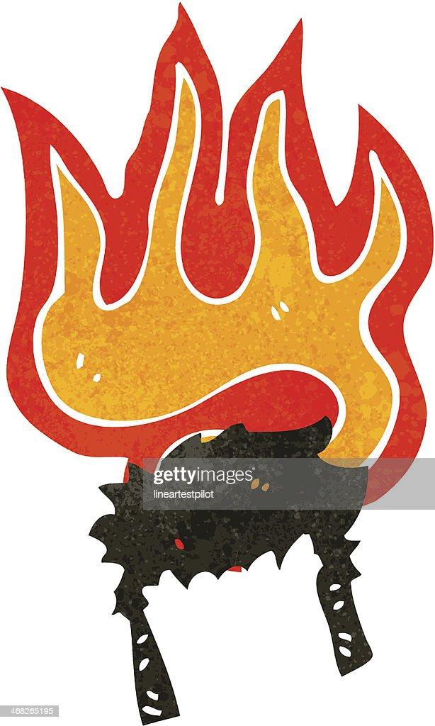 cartoon burning wig