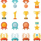 Cartoon business and sport awards and trophy illustration set, Colorful flat vector icons of golden, bronze and silver medals, cups, and bowls, Prize and achievement concept