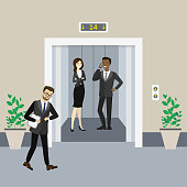 Cartoon business people in elevator and near and lift with open