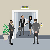 Cartoon business people in elevator and near, lift with open doo