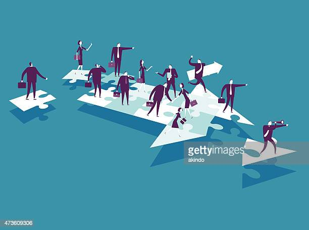 cartoon business people over puzzle pieces - aiming stock illustrations