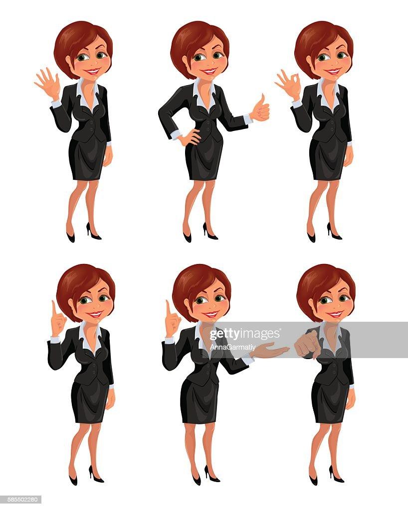 Cartoon business woman gestures set