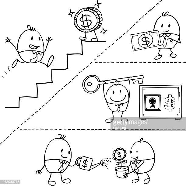 cartoon businessman earning money illustration - dotted line stock illustrations