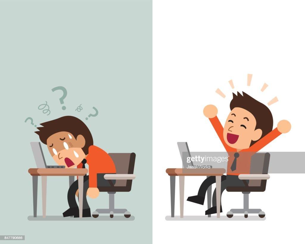Cartoon businessman expressing different emotions
