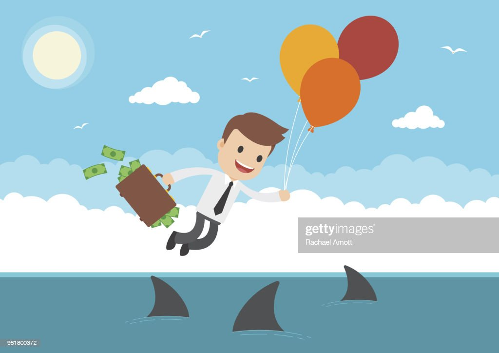 Cartoon Businessman Flying by Balloons over Sharks