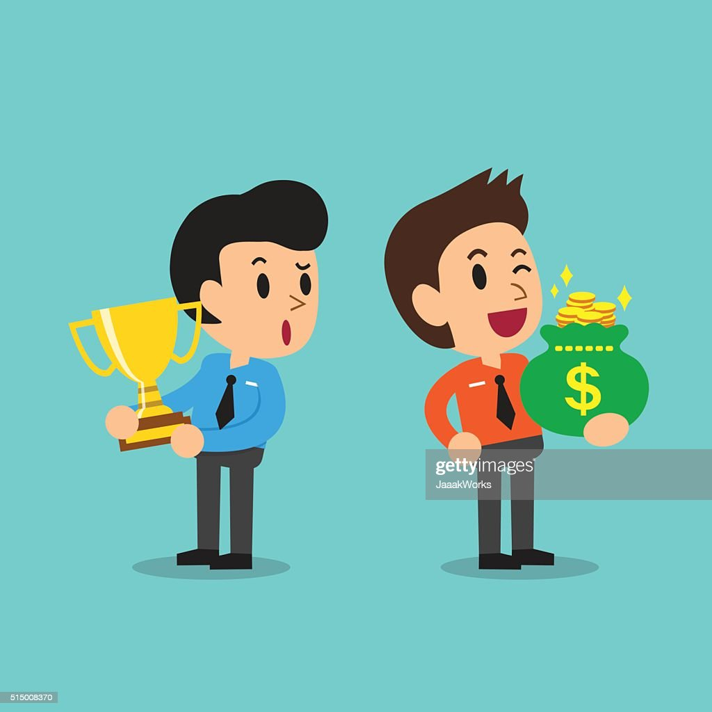 Cartoon businessman holding trophy and businessman holding money bag