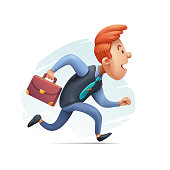 Cartoon Businessman in a Hurry