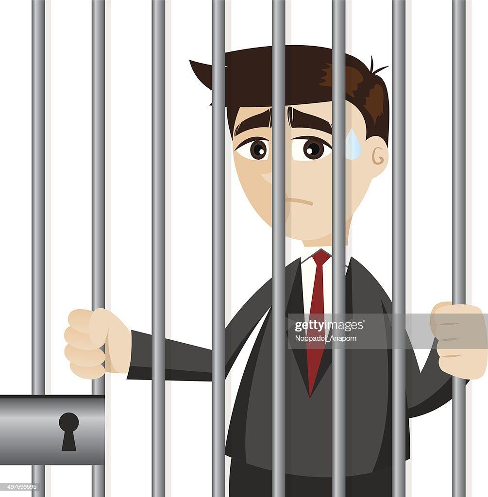 cartoon businessman in prison