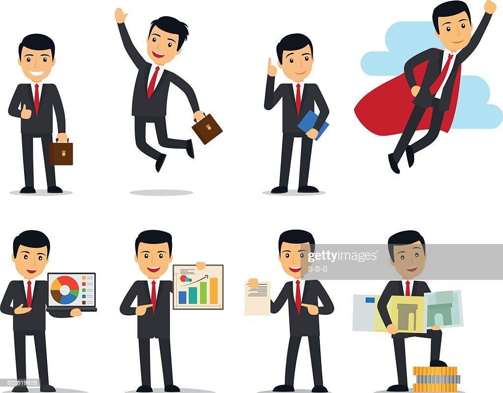 Cartoon businessman poses