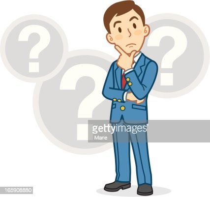 cartoon businessman thinking with question mark bubbles