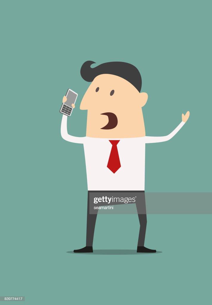 Cartoon businessman using a mobile phone