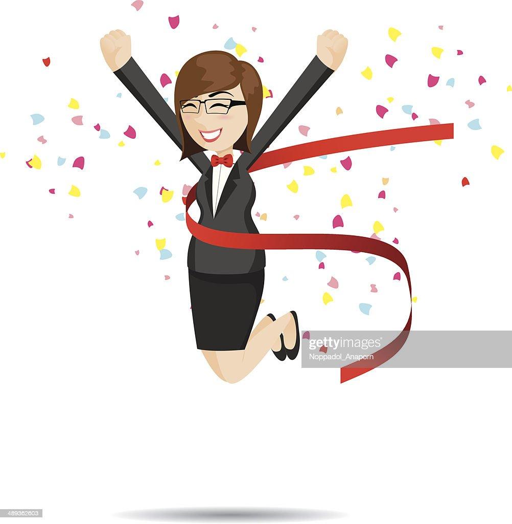 cartoon businesswoman in success action