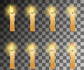 Cartoon candle with fire animation on transparent background