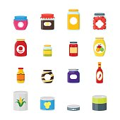 Cartoon Canned and Jar Food Color Icons Set. Vector