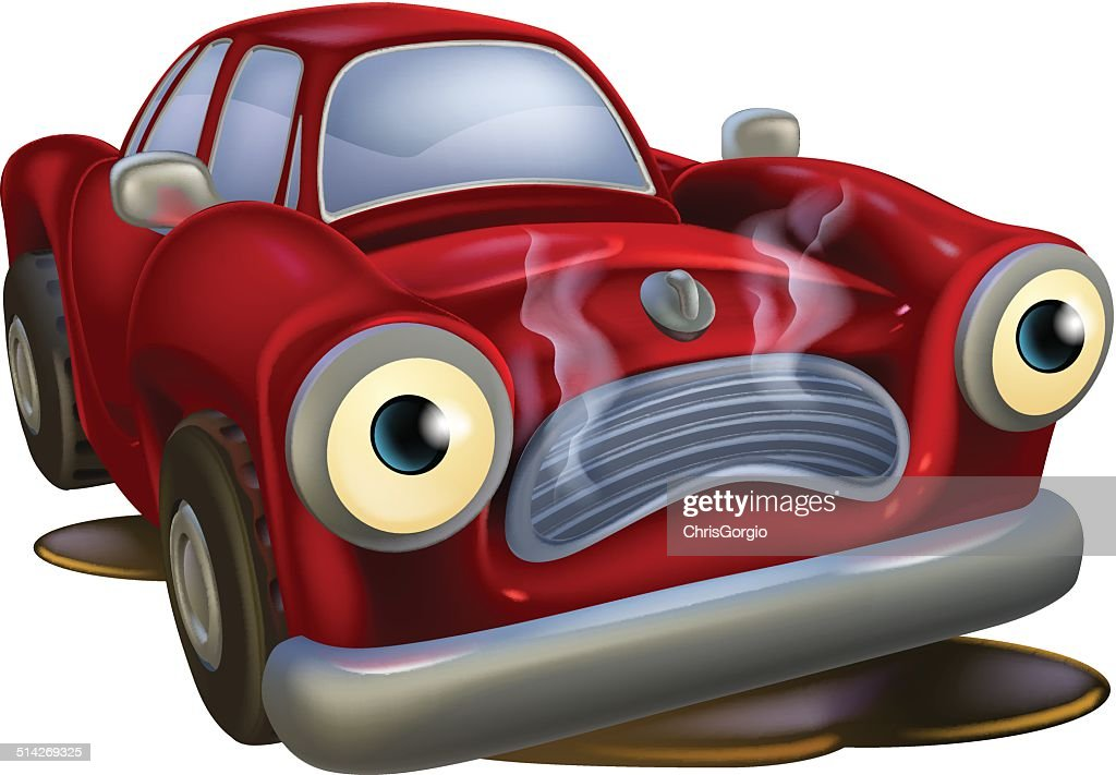 Cartoon car broken down