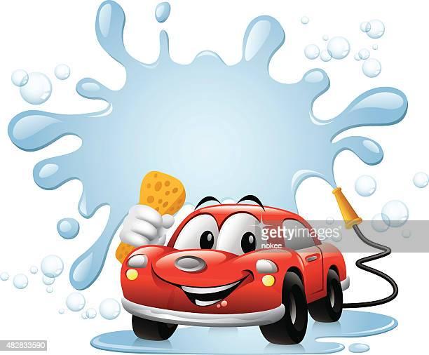 Voiture de lavage de voiture de dessin animé