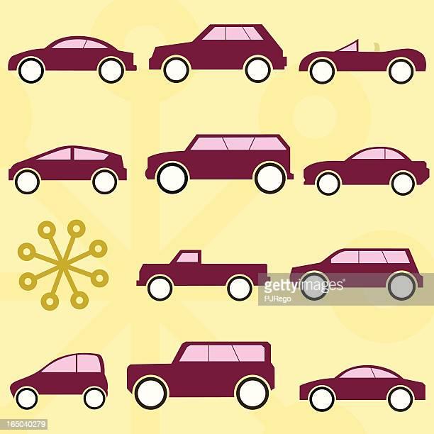 cartoon car collection - domestic car stock illustrations, clip art, cartoons, & icons