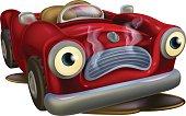 Cartoon car needing repair