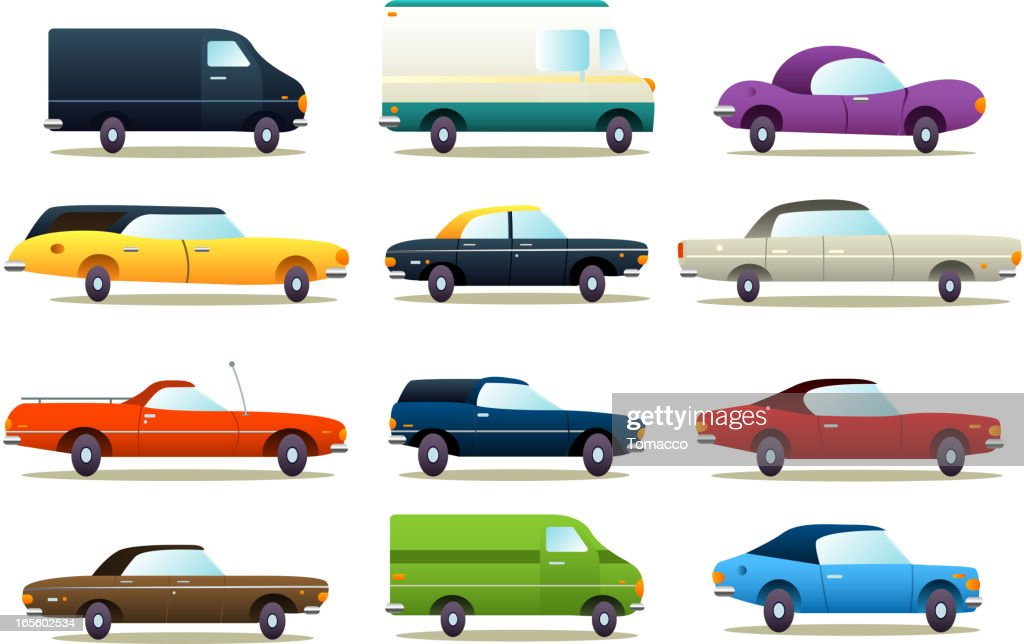 Cartoon cars icon collection