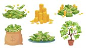 Cartoon cash. Green dollar banknotes pile, rich gold coins and pay. Cash bag, tray with stacks of bills and money tree vector illustration set