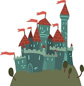 Cartoon Castle on a Hill flat icon.
