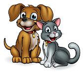 Cartoon Cat and Dog Pets