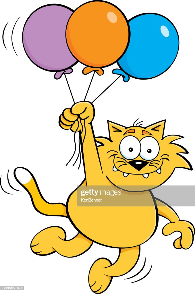 Cartoon cat holding balloons.
