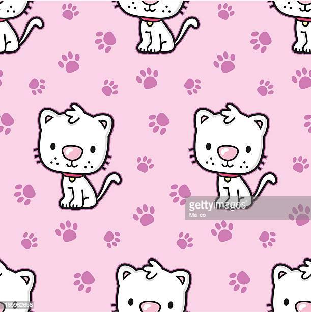 Comic Katze Nahtlose Muster mit paw prints