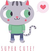 Cartoon cat with speech bubble and heart illustration