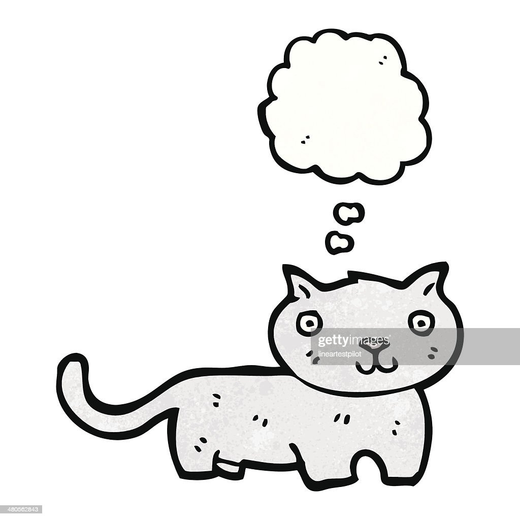 cartoon cat with thought bubble : Vector Art