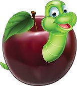 Cartoon Caterpillar In Apple