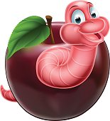 Cartoon Caterpillar Worm and Apple