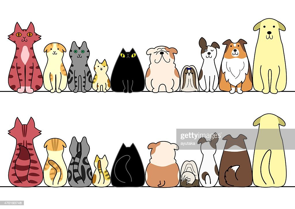 Cartoon cats and dogs sitting in a horizontal line