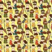 cartoon Caveman seamless pattern