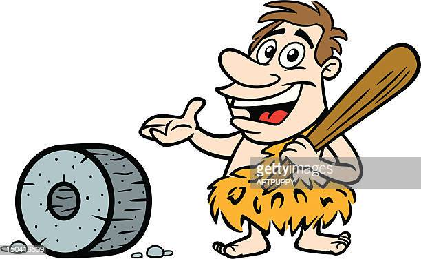 Cartoon Caveman With Wheel