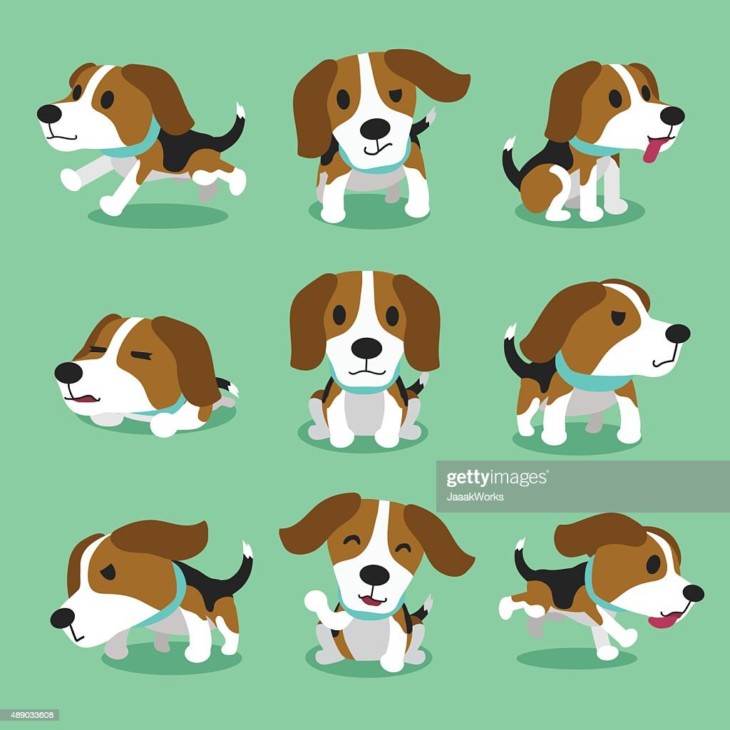 Cartoon character beagle dog poses