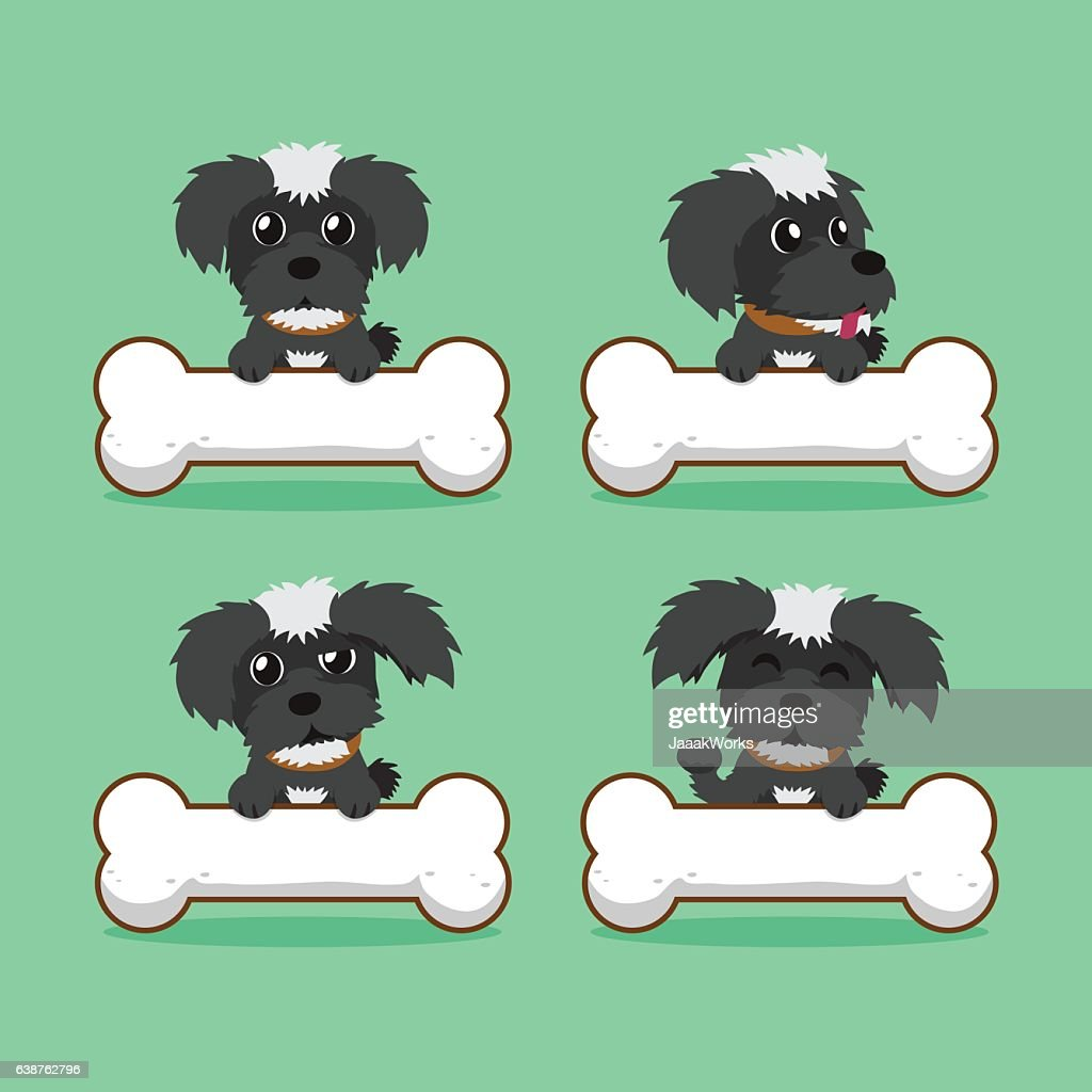 Cartoon character black maltese dog with big bones