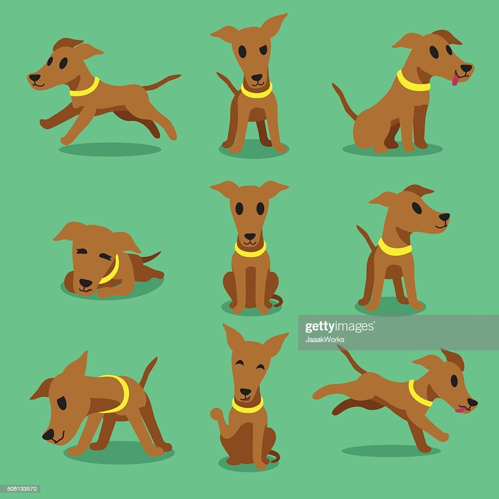 Cartoon character brown greyhound dog poses