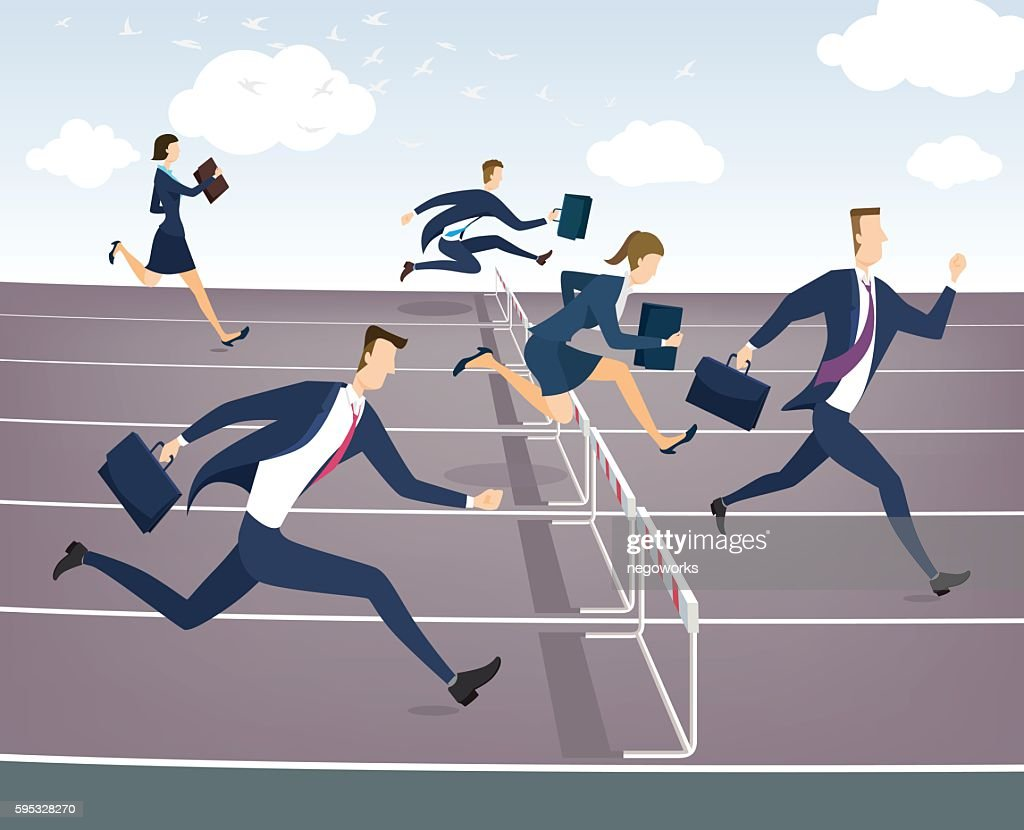 Cartoon character, Businessman and businesswoman jumping over hurdles