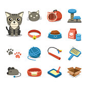 Cartoon character cat and accessories set