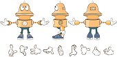 Cartoon character cute robot for  computer game Set  Illustration