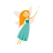 Cartoon Character Fairiy Girl with Wings. Vector