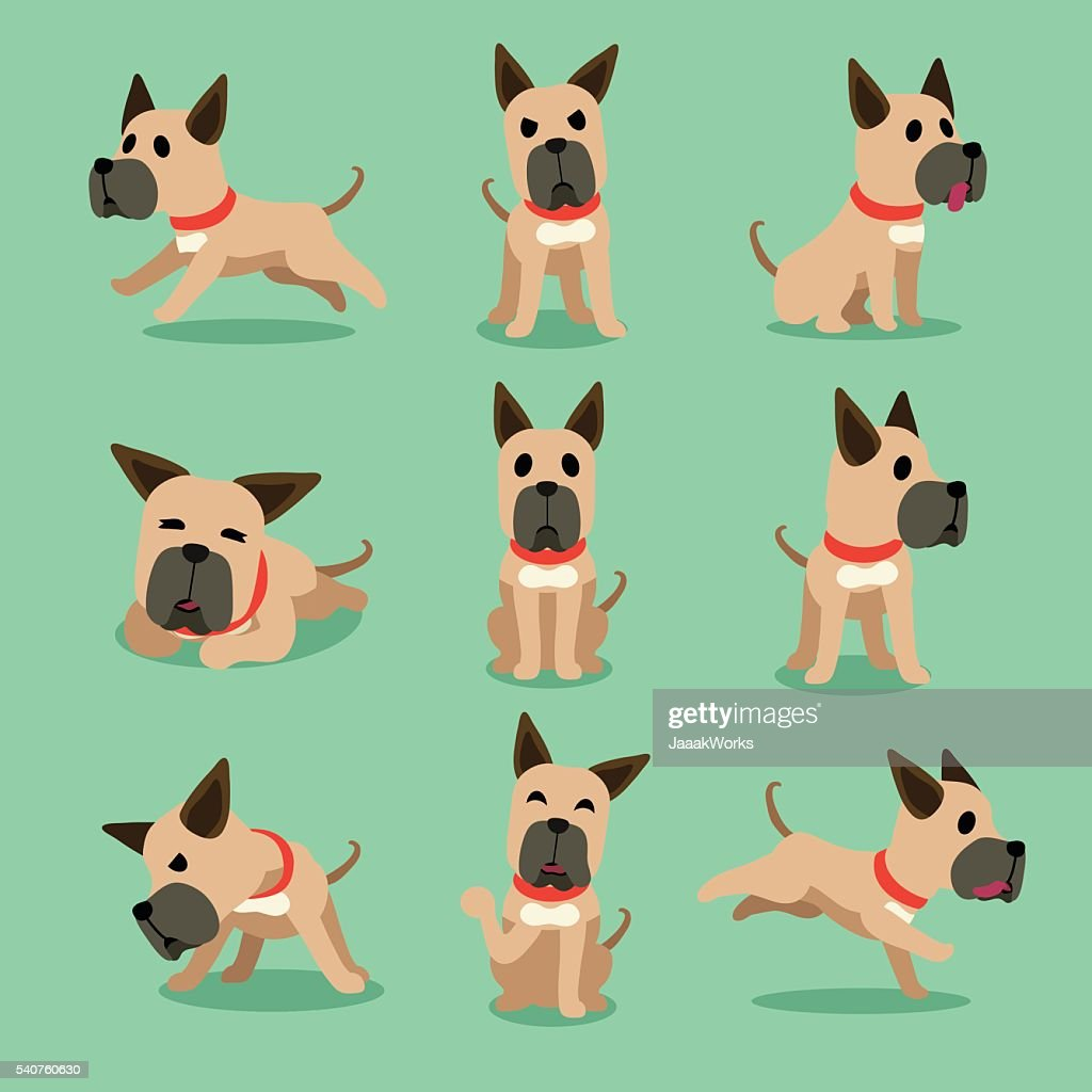 Cartoon Character Great Dane Dog Poses Vector Art Getty Images