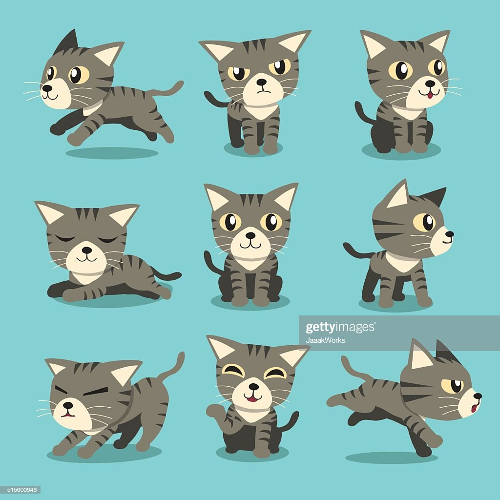Cartoon character grey tabby cat poses