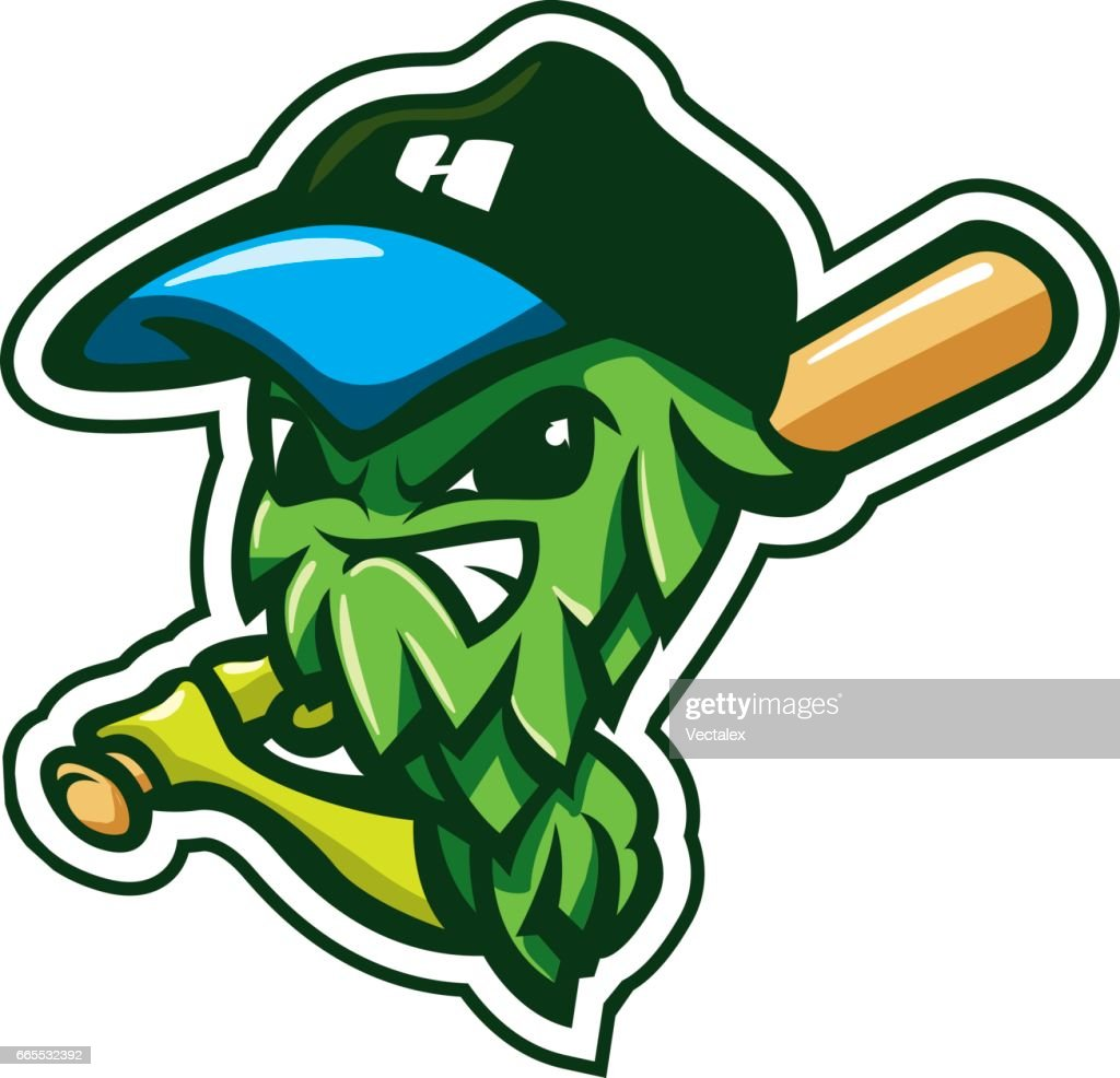 Cartoon Character Hop Sport Mascot Logo Badge Label Brewery Beer