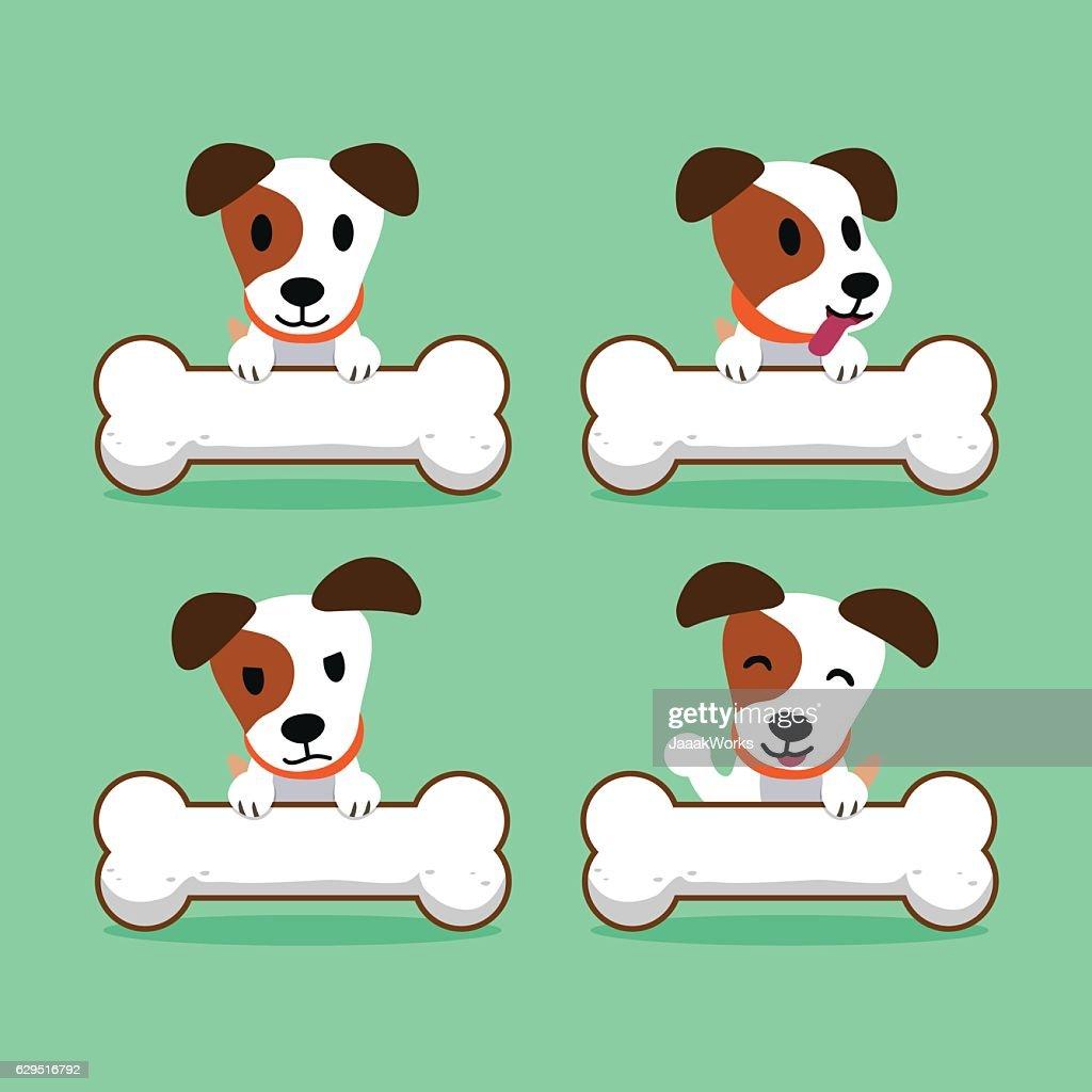 Cartoon character jack russell terrier dog with big bones