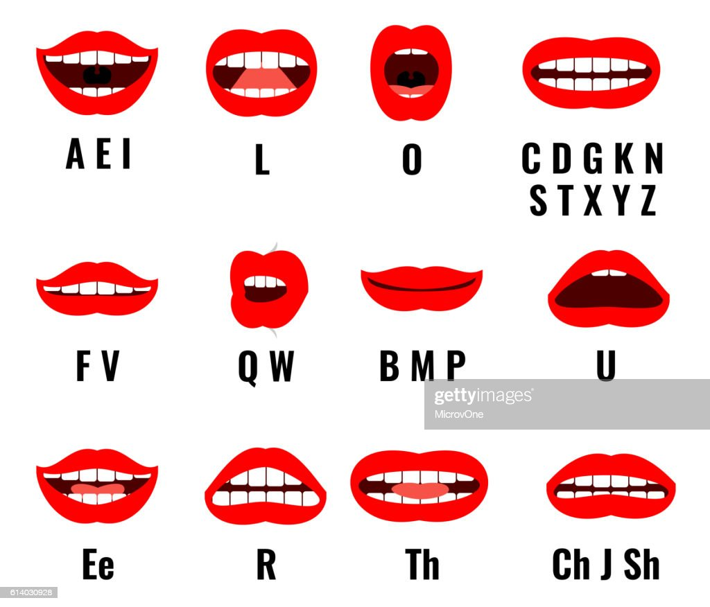 Cartoon character mouth and lips sync for sound pronunciation. Vector