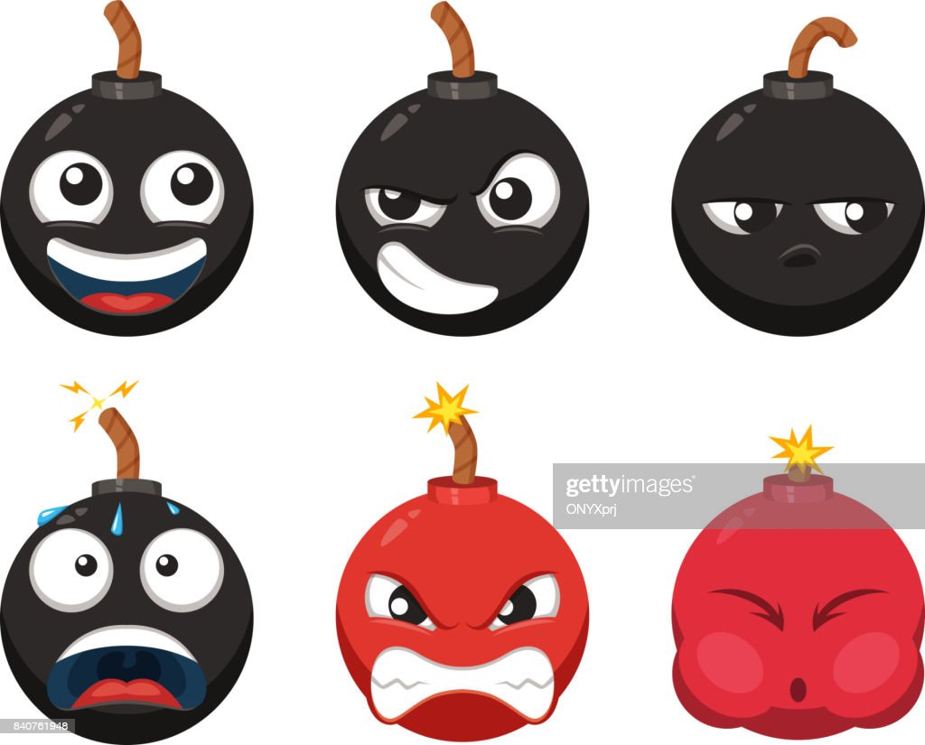 Cartoon character of funny bomb with different emotions. Vector mascot isolate on white