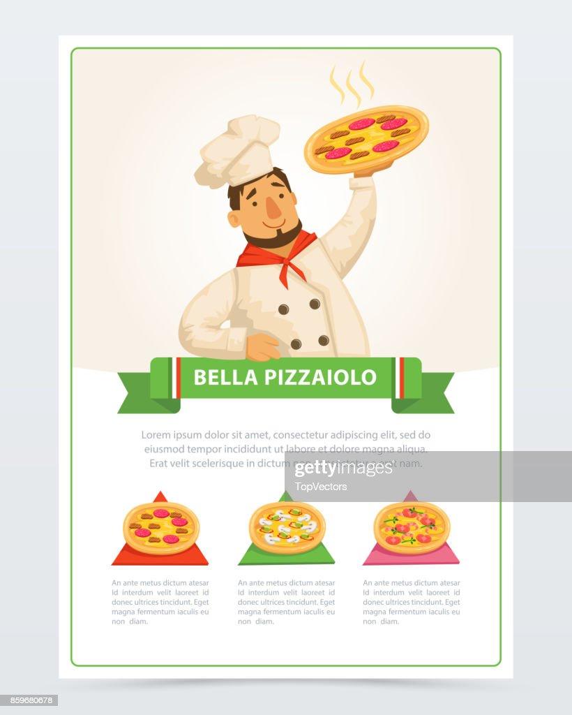 Cartoon character of italian pizzaiolo holding hot pizza