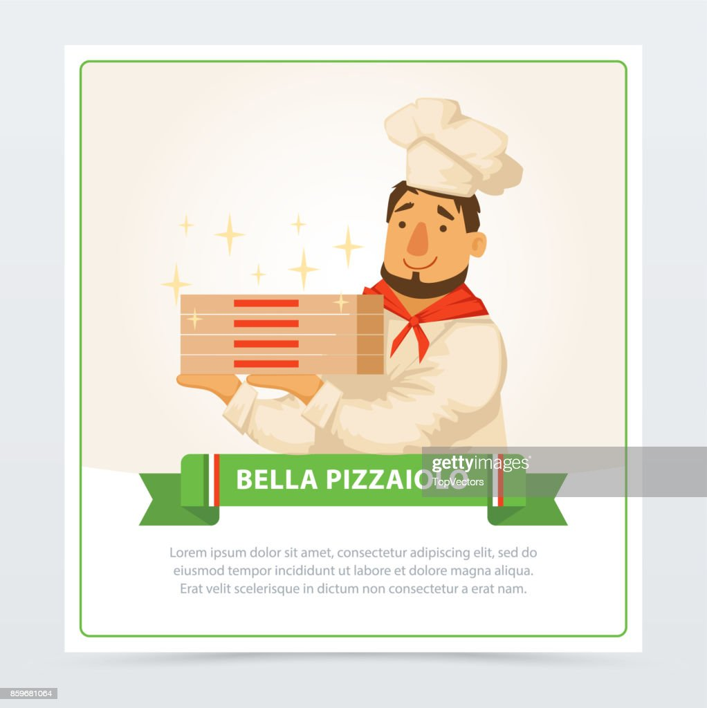 Cartoon character of italian pizzaiolo holding pizza boxes